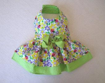 Medium - Ladybug Dog Dress - Little Dog Dress - Puppy Dress - Lime Green Dog Dress - Pet Dress