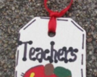 Teacher Gifts 56122TR  Teachers Rule  Wooden Teacher Tag