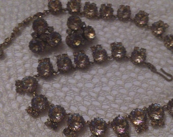 Gorgeous 1950s brown/amber rhinestone necklace and earrings set