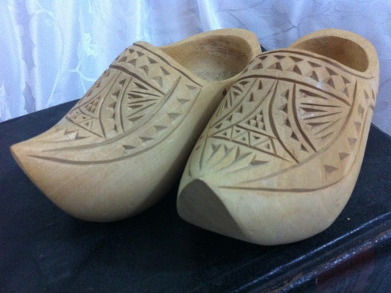 SALE Children's Hand Carved 1940s Dutch Wooden Clogs