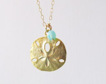 Gold Sand Dollar Necklace, 14kt Gold Filled Necklace, Gift for Her