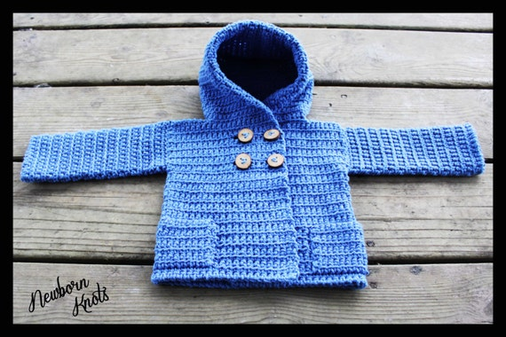 Crochet Pattern For Baby Boy Or Girls Hooded Sweater Coat With