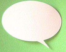 50 Oval speech bubbles 2 inch white die cut