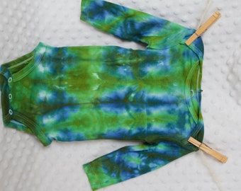Hand dyed infant bodysuit long sleeve 6 month green and blue