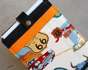 Route 66 - iPad Mini sleeve case with colorful front pockets - Wool felt 3mm thick