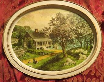 Tray Sunshine Biscuit Tin Lid 'The American Homestead - Spring' by Currier and Ives