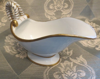 Ivory China Gravy Bowl with Gold Accents