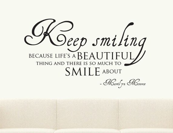 Keep Smiling Marilyn Monroe Quote Wall Sticker Mural Par