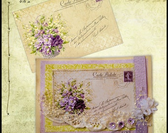 Old Post Card - digital collage sheet - set of 4 - Printable - Download