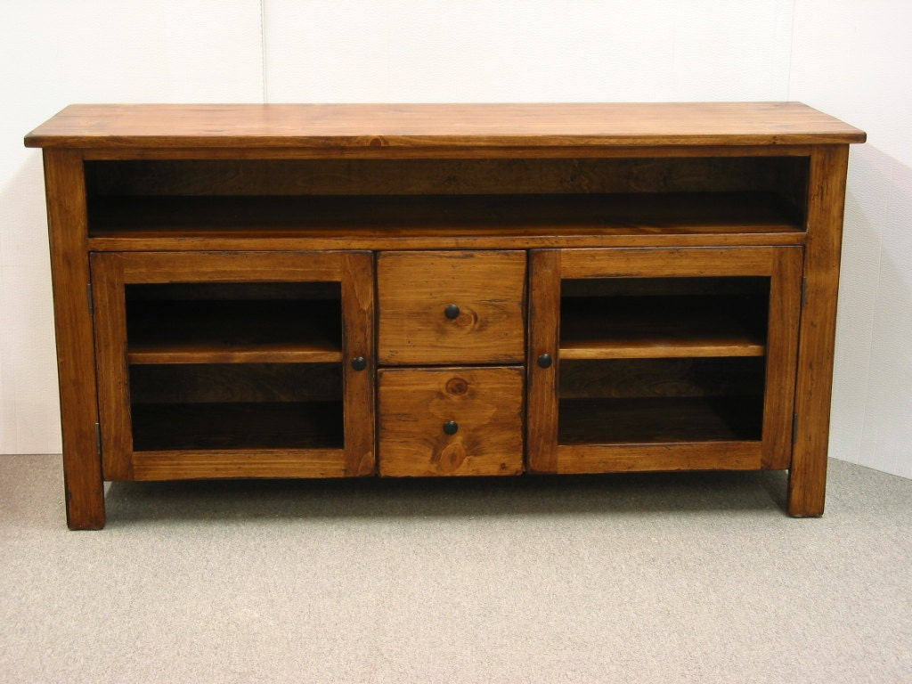 Tv stand pine tv console rustic tv by harvesttreasuresinc Rustic tv stands