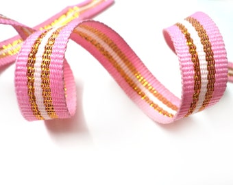5 YARDS Off White Shiny Gold and Pink Gross Grain Trim Ribbon  0.5'' - for Crafts, Sewing , Accessories