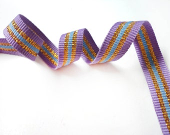 5 YARDS Purple Shiny Gold and Blue Stripes  Gross Grain Trim Ribbon  0.5'' - for Crafts, Sewing , Accessories