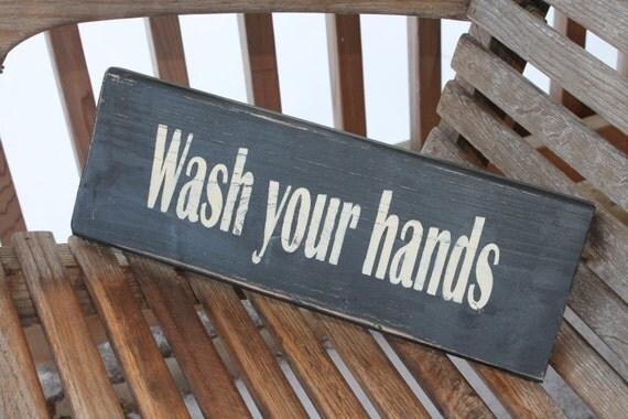 Bathroom Wood Sign Wash Your Hands Bathroom Kitchen Wall