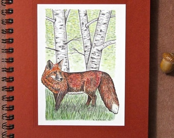 Large Journal - 7 Color Choices - Red Fox Recycled Spiral Bound Journal, Lined for the Writer or Unlined Artist Sketchbook