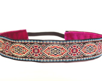 "non slip headband 1"" beautiful red and teal jacquard"