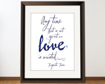 INSTANT Download, Love Quote Print, Printable Typography Art, Digital Word Art, Download And Print JPEG Image - Love Anytime -