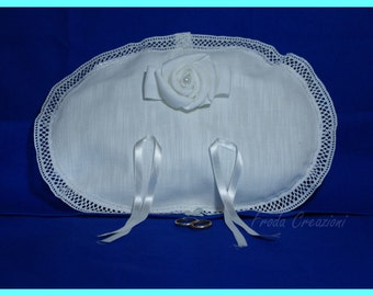 """Wedding  Ring Pillow - """"Oval Rose"""""""