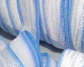 """SaLE - 5 or 10 Yards Shiny BLUE White Tie Dye Print 2 Way Fold Over Elastic FOE 5/8"""" Material DIY Hair Ties Headbands Soft Stretchy No Pull"""