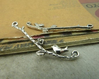 20pcs 18x28mm Antique Silver Bird on the Branches Connectors Charms Pendants Jewelry Accessories