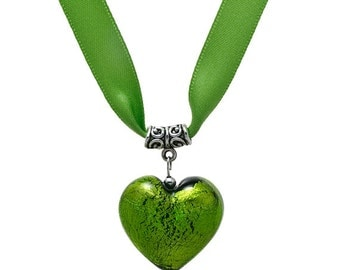 Jewel Heart Necklace Emerald on Forest Green Satin Ribbon