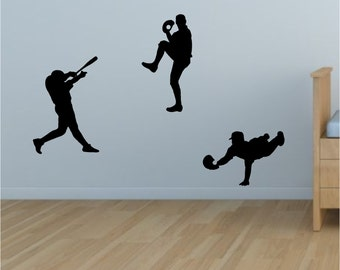 Baseball Player Decals - 3 Pack Sport Wall Decals