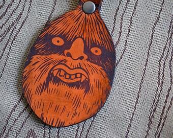 Mossy Man Bigfoot key fob. Leather Keychain