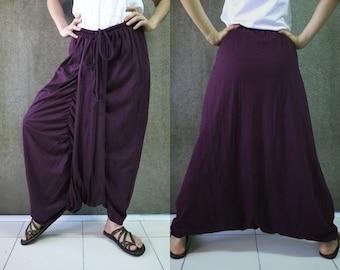 Boho Funky Hippie Stylish Steampunk Convertible Pants/Skirt In Plum Cotton Jersey - PSK002