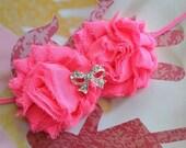 Baby Girl Headband..Neon Pink Shabby..Toddler Headband..Photogrophy Prop