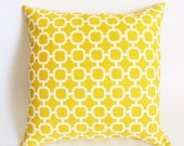 Yellow Pillow.Decorator Throw Zipper Pillow Cover. 20x20 Inch. Printed Fabric Front and Back Indoor Outdoor Bright Yellow Pillows