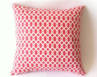 Coral Trellis Zipper Pillow Cover Coral Decorative Pillow Coral Cover 18 x 18 Inches Coral Accent Zipper Pillow Cover-0C43