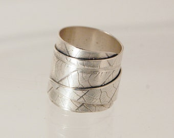 Silver Leaf Print Triple Wrap Ring.