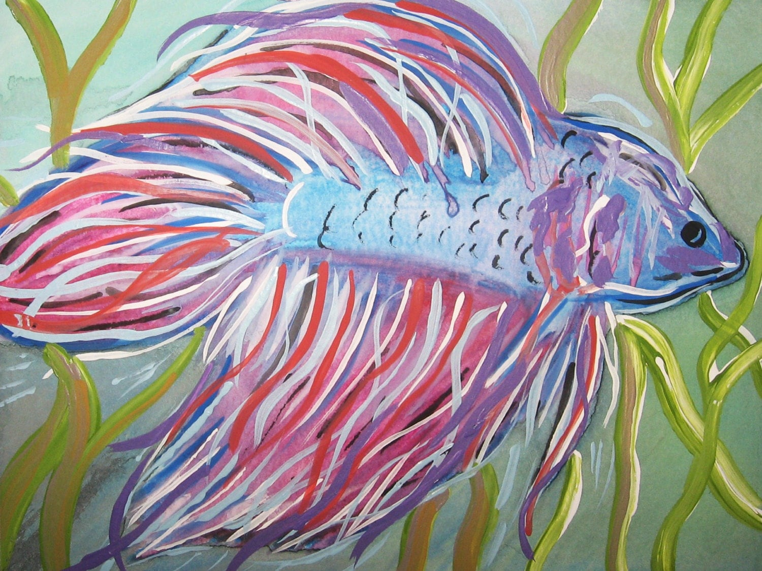 Betta fish art etsy original watercolor painting for Betta fish painting