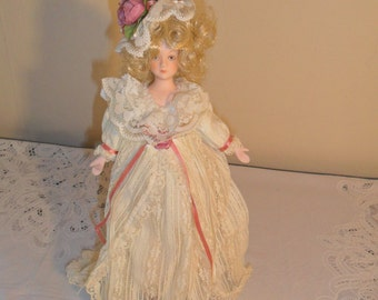 Vintage Porcelain Doll in Antique French Attire