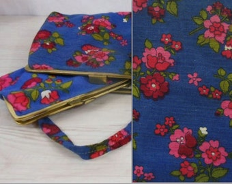 70s: handbag and cosmetic bag made of fabric with plastic lining. Vintage