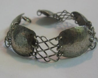 Art Deco bracelet made of silver Ag 835. Handwork. Hammer tone effect. VINTAGE silver TREASURE