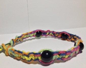 Obsidian & Multi Color Hemp Bracelet