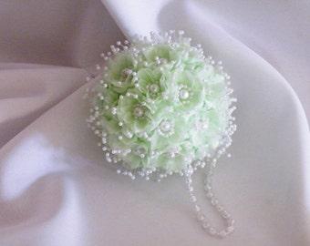 Wedding Kissing Ball Pomanda Mint Green Decorative Pearls