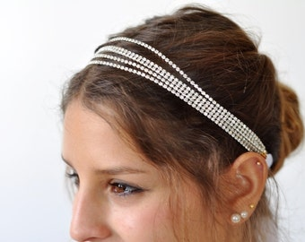 Bridal Hair Jewelry, Rhinestone chain ,Bridal Headband, Bridal hair jewelry rhinestone head chain ,bridal hair jewels Rhinestone Headband