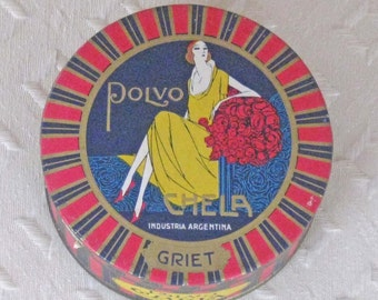 Antique Polvo Face Powder Box - Unopened with Contents
