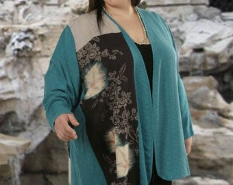 Turquoise Black Silver Peach Vintage Japanese Silk Plus-Size Daisy Jacket by Peggy Lutz Size 30/32