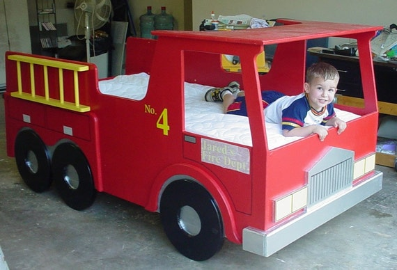 Fire truck twin size bed woodworking plan from plans4wood on etsy studio - Fire engine bed plans ...