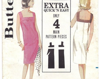 1960s Butterick 3136 Quick n' Easy Dress Pattern, Size 12