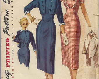 1950s Simplicity 1456 Dress and Jacket, Size 14, Bust 32