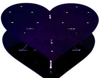 Heart Shaped Black Acrylic Cake Pop Stand - 32 Holes