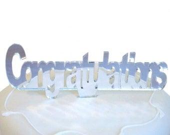 """Congratulations Cake Topper Silver Mirror - 10cm/4"""""""