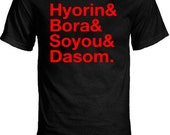SISTAR Group Member Names K-pop T-Shirt - Hyorin and Bora and Soyou and Dasom