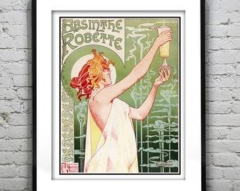 Vintage Absinthe Robette Art Deco Art Print Poster 1920's