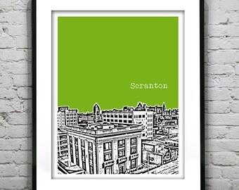 Scranton Poster Print Art Pennsylvania Skyline  Downtown Version 2