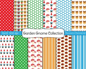 INSTANT DOWNLOAD 12 x 12 Paper Pack Digital Scrapbook and Clipart Garden Gnome Pape