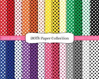 12 x 12 Paper Pack Dots Digital Scrapbook INSTANT DOWNLOAD